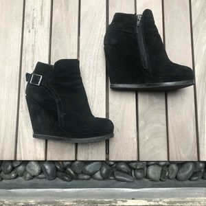 Dolce Vita | Black Suede Leather Wedge Bootie